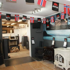 Jotul showroom area at J Day Stoneworks